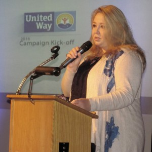 Karrie Damm, executive director of the Child Advocacy Center of Oswego County (CAC) addresses attendees at the United Way of Greater Oswego County's Annual Campaign Kick-Off Breakfast