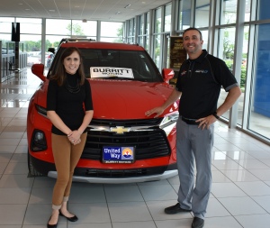 Participants at the 24th annual United Way Golf Tournament will once again have the chance to drive away in a brand new vehicle thanks to a hole-in-one contest offered by major sponsor Burritt Motors. Above are United Way Resource Development Director Lexie Wallace and President of Burritt Motors Rich Burritt. For more information about this year's tournament, visit www.oswegounitedway.org or email rddunitedway@windstream.net